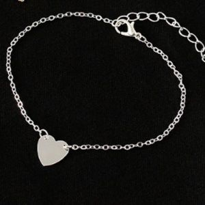 Silver Tone Heart Anklet